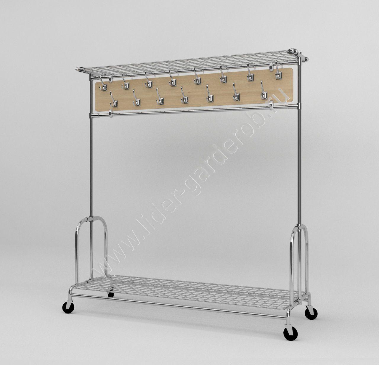 арт.003 Вешалка гардеробная передвижная на 30 кр с сетками под гол. уборы и ca07b9752c725